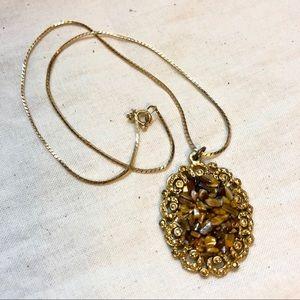 Vintage JEM Tigers Eye Cluster Pendant Necklace